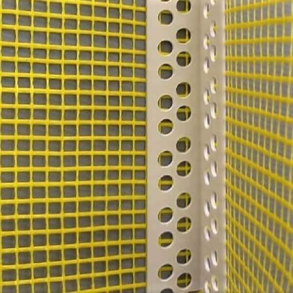 Cantoneira PVC com tela de fibra de vidro