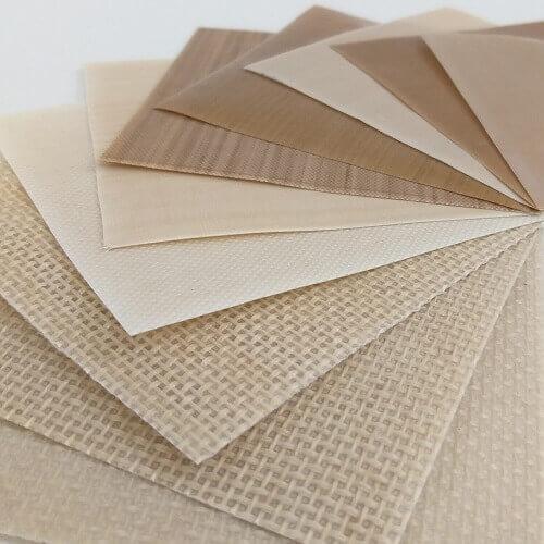 Amostras de tecido de fibra de vidro com revestimento de PTFE antiaderente